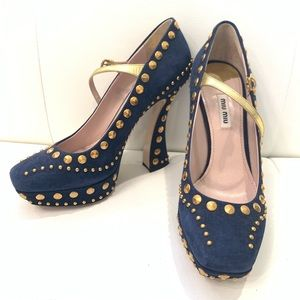 MIU MIU Studded Suede Shoes Sz 40.5